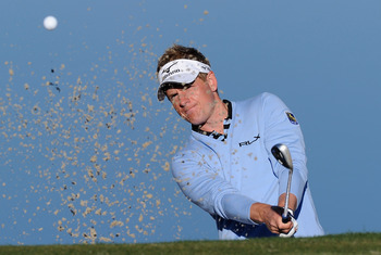 MARANA, AZ - FEBRUARY 22:  Luke Donald of England plays a bunker shot during practice prior to the start of the World Golf Championships-Accenture Match Play Championship held at The Ritz-Carlton Golf Club, Dove Mountain on February 22, 2011 in Marana, Ar