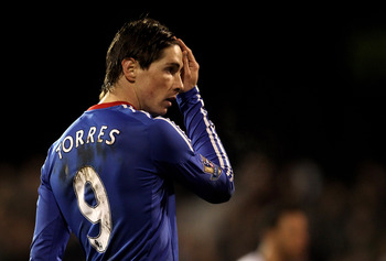 LONDON, ENGLAND - FEBRUARY 14:  Fernando Torres of Chelsea looks on during the Barclays Premier League match between Fulham and Chelsea at Craven Cottage on February 14, 2011 in London, England.  (Photo by Scott Heavey/Getty Images)