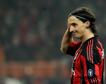 MILAN, ITALY - FEBRUARY 01:  Zlatan Ibrahimovic of AC Milan during the Serie A match between AC Milan and SS Lazio at Stadio Giuseppe Meazza on February 1, 2011 in Milan, Italy.  (Photo by Claudio Villa/Getty Images)