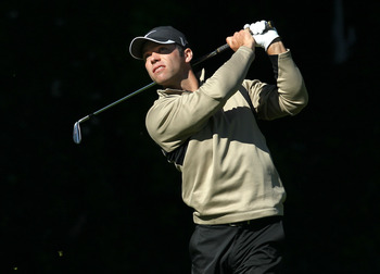 PACIFIC PALISADES, CA - FEBRUARY 20: Paul Casey of England hits his tee shot on the sixth hole during the final round of the Northern Trust Open at Riviera Country Club on February 20, 2011 in Pacific Palisades, California. (Photo by Stephen Dunn/Getty Im