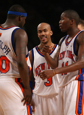 NEW YORK - NOVEMBER 26: (L-R) Zach Randolph #50, Stephon Marbury #3 and Jamal Crawford #11 of the New York Knicks talk during the game against the Utah Jazz on November 26, 2007 at Madison Square Garden in New York City. NOTE TO USER: User expressly ackno