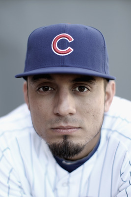MESA, AZ - FEBRUARY 22:  (EDITORS NOTE : THIS IMAGE HAS BEEN DIGITALLY DESATURATED.) Matt Garza #17 of the Chicago Cubs poses for a portrait during media photo day at Finch Park on February 22, 2011 in Mesa, Arizona.  (Photo by Ezra Shaw/Getty Images)