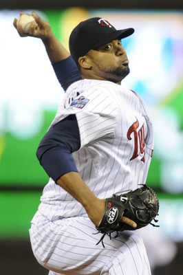 MINNEAPOLIS, MN - OCTOBER 6: Francisco Liriano #47 of the Minnesota Twins pitches during game one of the ALDS against on October 6, 2010 at Target Field in Minneapolis, Minnesota. (Photo by Hannah Foslien /Getty Images)