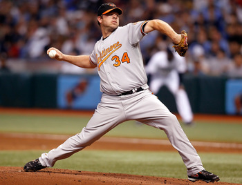 ST. PETERSBURG, FL - SEPTEMBER 29:  Pitcher Kevin Millwood #34 of the Baltimore Orioles pitches against the Tampa Bay Rays during the game at Tropicana Field on September 29, 2010 in St. Petersburg, Florida.  (Photo by J. Meric/Getty Images)
