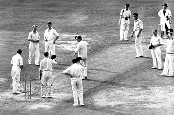 1 Jan 1948:  Sir Donald Bradman of Australia in action  his last innings during the 1948 England v Australia test at the Oval, London, England. Mandatory Credit: Allsport Australia/ALLSPORT