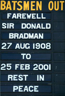 26 Feb 2001:  The scoreboard at Adelaide Oval displays a farewell  after the announcement of Sir Donald's death. Mandatory Credit: Tony Lewis/ALLSPORT
