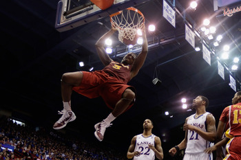 LAWRENCE, KS - FEBRUARY 12:  Melvin Ejim #3 of the Iowa State Cyclones dunks during the game against the Kansas Jayhawks on February 12, 2011 at Allen Fieldhouse in Lawrence, Kansas.  (Photo by Jamie Squire/Getty Images)