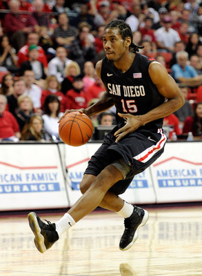 LAS VEGAS, NV - FEBRUARY 12:  Kawhi Leonard #15 of the San Diego State Aztecs brings the ball up the court against the UNLV Rebels during their game at the Thomas & Mack Center February 12, 2011 in Las Vegas, Nevada. San Diego State won 63-57.  (Photo by
