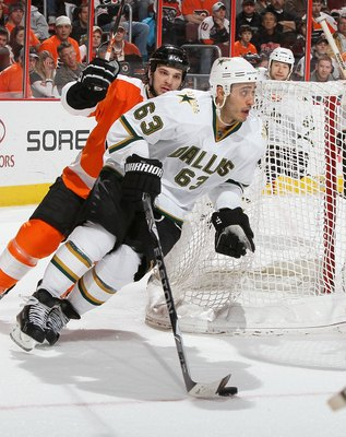 PHILADELPHIA, PA - FEBRUARY 05:  Mike Ribeiro #63 of the Dallas Stars skates against the Philadelphia Flyers on February 5, 2011 at Wells Fargo Center in Philadelphia, Pennsylvania. The Flyers defeated the Stars 3-1.  (Photo by Jim McIsaac/Getty Images)
