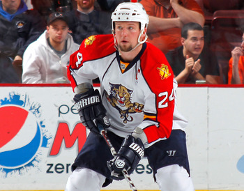 PHILADELPHIA, PA - DECEMBER 20:  Bryan McCabe #24 of the Florida Panthers skates during a hockey game against the Philadelphia Flyers at the Wells Fargo Center on December 20, 2010 in Philadelphia, Pennsylvania.  (Photo by Paul Bereswill/Getty Images)