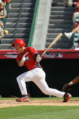 ANAHEIM, CA - JULY 11:  U.S. Futures All-Star Mike Trout #20 of the Los Angeles Angels of Anaheim at bat during the 2010 XM All-Star Futures Game at Angel Stadium of Anaheim on July 11, 2010 in Anaheim, California.  (Photo by Stephen Dunn/Getty Images)