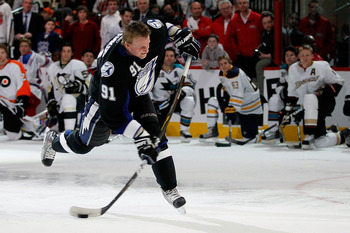 RALEIGH, NC - JANUARY 29:  Steven Stamkos #91 of the Tampa Bay Lightning competes in the hardest shot part of the Honda NHL SuperSkills competition part of 2011 NHL All-Star Weekend at the RBC Center on January 29, 2011 in Raleigh, North Carolina.  (Photo