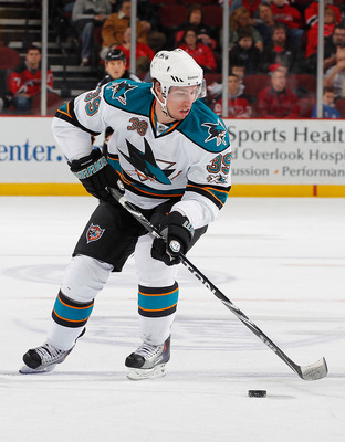 NEWARK, NJ - FEBRUARY 11: Logan Couture #39 of the San Jose Sharks skates during an NHL hockey game against the New Jersey Devils on February 11, 2011 at the Prudential Center in Newark, New Jersey. (Photo by Paul Bereswill/Getty Images)