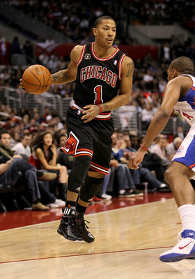 LOS ANGELES, CA - FEBRUARY 02:  Derrick Rose #1 of the Chicago Bulls drives against the Los Angeles Clippers at Staples Center on February 2, 2011  in Los Angeles, California.  NOTE TO USER: User expressly acknowledges and agrees that, by downloading and