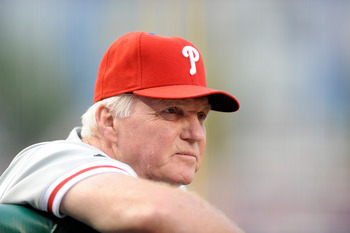 WASHINGTON - AUGUST 01:  Manager Charlie Manuel of the Philadelphia Phillies watches the game against the Washington Nationals at Nationals Park on August 1, 2010 in Washington, DC.  (Photo by Greg Fiume/Getty Images)