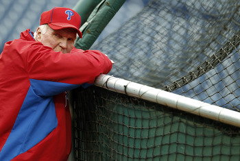 PHILADELPHIA - OCTOBER 15:  Charlie Manuel #41 of the Philadelphia Phillies smiles during a workout before the NLCS against the San Francisco Giants at Citizens Bank Park on October 15, 2010 in Philadelphia, Pennsylvania.  (Photo by Jeff Zelevansky/Getty
