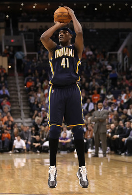 PHOENIX - DECEMBER 03:  James Posey #41 of the Indiana Pacers puts up a shot during the NBA game against the Phoenix Suns at US Airways Center on December 3, 2010 in Phoenix, Arizona. NOTE TO USER: User expressly acknowledges and agrees that, by downloadi