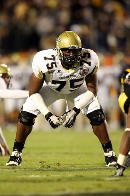 MIAMI GARDENS, FL - JANUARY 05:  Offensive tackle Nick Claytor #75 of the Georgia Tech Yellow Jackets lines up for a play against the Iowa Hawkeyes during the FedEx Orange Bowl at Land Shark Stadium on January 5, 2010 in Miami Gardens, Florida. Iowa won 2
