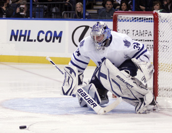 TAMPA, FL - JANUARY 25: James Reimer #34 of the Toronto Maple Leafs protects the net against the Tampa Bay Lightning at St. Pete Times Forum on January 25, 2011 in Tampa, Florida. The Lightning defeated the Leafs 2-0. (Photo by Justin K. Aller/Getty Image
