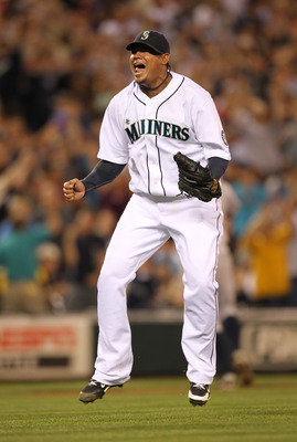 SEATTLE - JULY 10:  Starting pitcher Felix Hernandez #34 of the Seattle Mariners reacts after defeating the New York Yankees 4-1 at Safeco Field on July 10, 2010 in Seattle, Washington. (Photo by Otto Greule Jr/Getty Images)