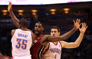 OKLAHOMA CITY, OK - JANUARY 30:  Forward LeBron James #6 of the Miami Heat during play against the Oklahoma City Thunder at Ford Center on January 30, 2011 in Oklahoma City, Oklahoma.  NOTE TO USER: User expressly acknowledges and agrees that, by download