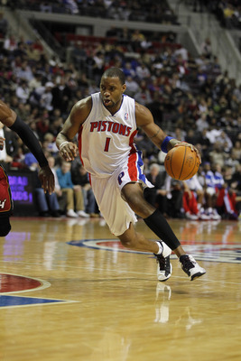 AUBURN HILLS, MI - FEBRUARY 11:  Tracy McGrady #1 of the Detroit Pistons controls the ball while playing the Miami Heat at The Palace of Auburn Hills on February 11, 2011 in Auburn Hills, Michigan. Miami won the game 106-92.  (Photo by Gregory Shamus/Gett