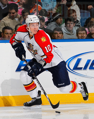 UNIONDALE, NY - FEBRUARY 21:  David Booth #10 of the Florida Panthers skates during an NHL hockey game against the New York Islanders at the Nassau Coliseum on February 21, 2011 in Uniondale, New York.  (Photo by Paul Bereswill/Getty Images)