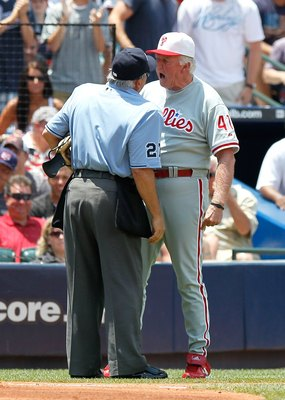 ATLANTA - MAY 31:  Manager Charlie Manuel #41 of the Philadelphia Phillies yells at homeplate umpire Larry Vanover #27 after being ejected in the third inning against the Atlanta Braves at Turner Field on May 31, 2010 in Atlanta, Georgia.  (Photo by Kevin
