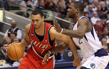 DALLAS, TX - DECEMBER 15:  Guard Brandon Roy #7 of the Portland Trail Blazers dribbles the ball past DeShawn Stevenson #2 of the Dallas Mavericks at American Airlines Center on December 15, 2010 in Dallas, Texas.  NOTE TO USER: User expressly acknowledges