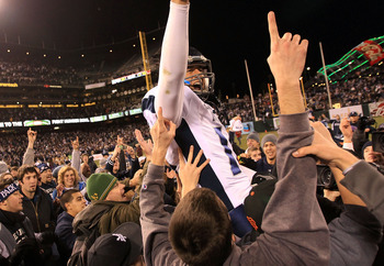 SAN FRANCISCO, CA - JANUARY 09: Colin Kaepernick #10 of the Nevada Wolf Pack is lifted on to shoulders after they beat Boston College in the Kraft Fight Hunger Bowl at AT&T Park on January 9, 2011 in San Francisco, California.  (Photo by Ezra Shaw/Getty I