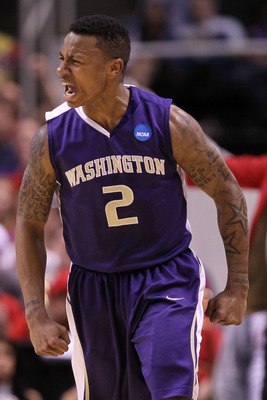 SAN JOSE, CA - MARCH 20:  Guard Isaiah Thomas #2 of the Washington Huskies celebrates after a three point basket to give the Huskies a 10 point lead against the New Mexico Lobos in the second round of the 2010 NCAA men's basketball tournament at HP Pavili