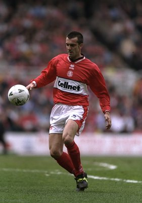 22 Mar 1998:  Marco Branca of Middlesbrough gets the ball under control during the a Nationwide Division 1 match between Middlesbrough and Norwich played at the Riverside Stadium, Middlesbrough, England. Middlesbrough won the match 3-0. \ Mandatory Credit