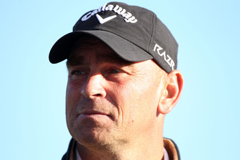 MARANA, AZ - FEBRUARY 23:  Thomas Bjorn of Denmark looks on after defeating Tiger Woods (not pictured) on the 19th hole during the first round of the Accenture Match Play Championship at the Ritz-Carlton Golf Club on February 23, 2011 in Marana, Arizona.