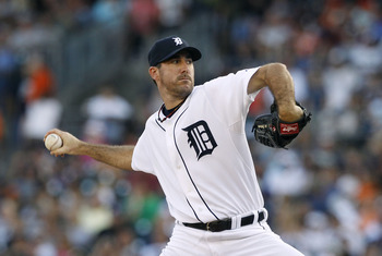 DETROIT - JULY 09:  Justin Verlander #35 of the Detroit Tigers pitches in the fourth inning during the game against the Minnesota Twins Detroit Tigers on July 9, 2010 at Comerica Park in Detroit, Michigan. The Tigers defeated the Twins 7-3. (Photo by Leon