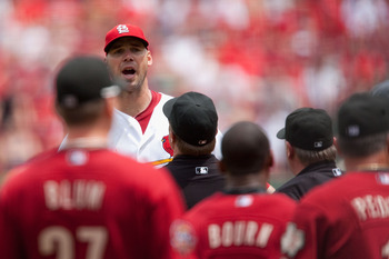 ST. LOUIS - MAY 13: Starting pitcher Chris Carpenter #29 of the St. Louis Cardinals confronts members of the Houston Astros at Busch Stadium on May 13, 2010 in St. Louis, Missouri.  The Astros beat the Cardinals 4-1.  (Photo by Dilip Vishwanat/Getty Image