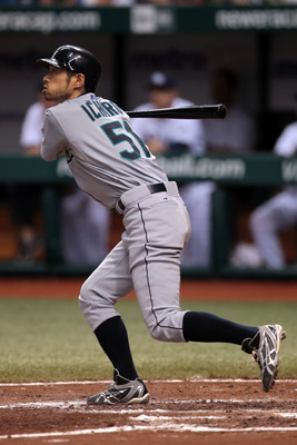 ST PETERSBURG, FL - SEPTEMBER 25: Ichiro Suzuki #51 of the Seattle Mariners watches a hit fly against the Tampa Bay Rays at Tropicana Field on September 25, 2010 in St. Petersburg, Florida. (Photo by Eliot J. Schechter/Getty Images)