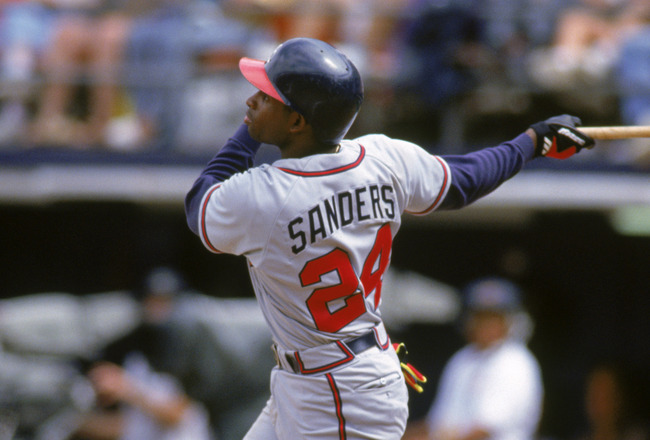 SAN DIEGO - JUNE 7:  Deion Sanders #24 of the Atlanta Braves bats against the San Diego Padres during the game at Jack Murphy Stadium on June 7, 1992 in San Diego, California.   (Photo by Stephen Dunn/Getty Images)