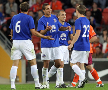 BRISBANE, AUSTRALIA - JULY 17:  Jack Rodwell of Everton celebrates after scoring a goal during a pre-season friendly match between Brisbane Roar and Everton at Suncorp Stadium on July 17, 2010 in Brisbane, Australia.  (Photo by Bradley Kanaris/Getty Image