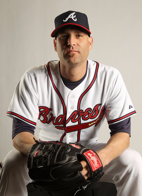 LAKE BUENA VISTA, FL - FEBRUARY 21:  Tim Hudson #15  of the Atlanta Braves during Photo Day at  Champion Stadium at ESPN Wide World of Sports of Complex on February 21, 2011 in Lake Buena Vista, Florida. (Photo by Mike Ehrmann/Getty Images)