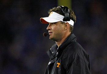 LEXINGTON, KY - NOVEMBER 28:  Lane Kiffin the Head Coach of the Tennessee Volunteers looks on during the SEC game against the Kentucky Wildcats at Commonwealth Stadium on November 28, 2009 in Lexington, Kentucky.  (Photo by Andy Lyons/Getty Images)