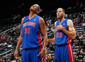 ATLANTA - NOVEMBER 03:  Charlie Villanueva #31 of the Detroit Pistons reacts after getting called for a foul against the Atlanta Hawks at Philips Arena on November 3, 2010 in Atlanta, Georgia.  NOTE TO USER: User expressly acknowledges and agrees that, by