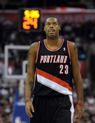 LOS ANGELES, CA - OCTOBER 27:  Marcus Camby #23 of the Portland Trail Blazers reacts after a lost possesion to the Los Angeles Clippers at Staples Center on October 27, 2010 in Los Angeles, California. NOTE TO USER: User expressly acknowledges and agrees