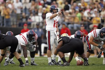 NASHVILLE, TN - SEPTEMBER 15:  Quarterback Seth Adams #19 of the Ole Miss Rebels calls a play against the Vanderbilt Commodores on September 15, 2007 at Vanderbilt Stadium in Nashville, Tennessee.  (Photo by Chris Graythen/Getty Images)