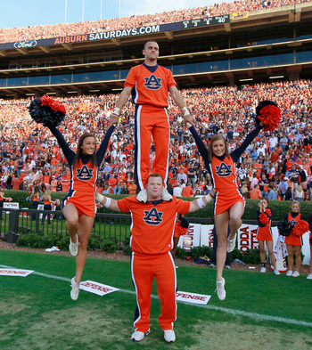 AUBURN, AL - NOVEMBER 13:  Cheerleaders of the Auburn Tigers perform against the Georgia Bulldogs at Jordan-Hare Stadium on November 13, 2010 in Auburn, Alabama.  (Photo by Kevin C. Cox/Getty Images)