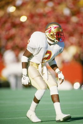 28 Nov 1987:  Cornerback Deion Sanders of the Florida State Seminoles stands in position during a game against the Florida Gators at Florida Field in Gainesville, Florida.  Florida State won the game 28-14. Mandatory Credit: Allen Dean Steele  /Allsport