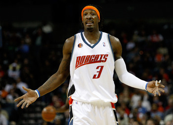 CHARLOTTE, NC - FEBRUARY 20:  Gerald Wallace #3 of the Charlotte Bobcats reacts during their game against the Orlando Magic at Time Warner Cable Arena on February 20, 2009 in Charlotte, North Carolina. NOTE TO USER: User expressly acknowledges and agrees