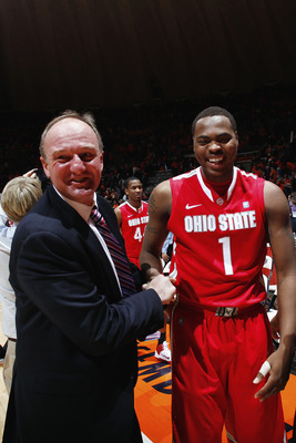 CHAMPAIGN, IL - JANUARY 22: Ohio State Buckeyes head coach Thad Matta celebrates with Deshaun Thomas #1 following the game against the Illinois Fighting Illini at Assembly Hall on January 22, 2011 in Champaign, Illinois. Ohio State won 73-68. (Photo by Jo