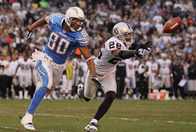 SAN DIEGO - DECEMBER 05:  Stanford Routt #26 of the Oakland Raiders breaks up a pass intended for wide receiver Malcolm Floyd #80 of the San Diego Chargers at Qualcomm Stadium on December 5, 2010 in San Diego, California. The Raiders defeated the Chargers