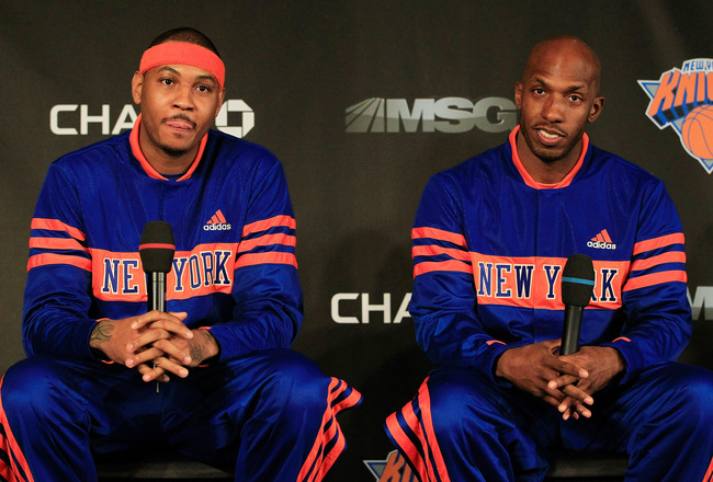 NEW YORK, NY - FEBRUARY 23:  New York Knicks new players (L) Carmelo Anthony and (R) Chauncy Billups are introduced to the media at a press conference at Madison Square Garden on February 23, 2011 in New York City. NOTE TO USER: User expressly acknowledge