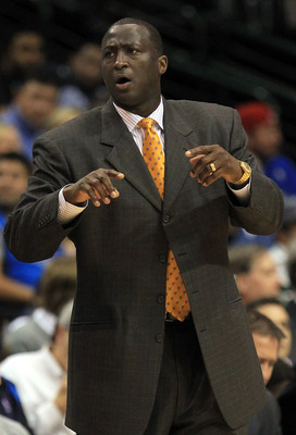 DALLAS, TX - FEBRUARY 23:  Head coach Tyrone Corbin of the Utah Jazz during play against the Dallas Mavericks at American Airlines Center on February 23, 2011 in Dallas, Texas.  NOTE TO USER: User expressly acknowledges and agrees that, by downloading and